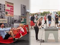 links: vorn Wippe mit zwei Personen, dahinter Plakatwand zu Abenteuerspielplatz. rechts: zwei Personen spielen am Kickertisch von Ina Weber