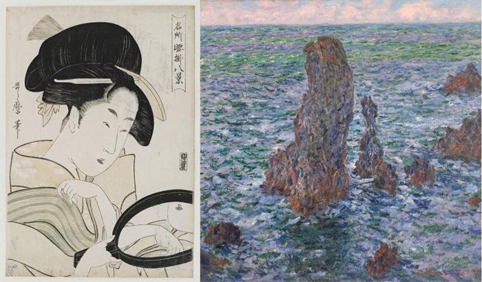 links: ein Holzschnitt einer japanischen Frau mit Handspiegel, links: Impressionistische Malerei, leicht aufgerauhte blau-grüne See mit steil herausragenden rot-braunen Felsen.