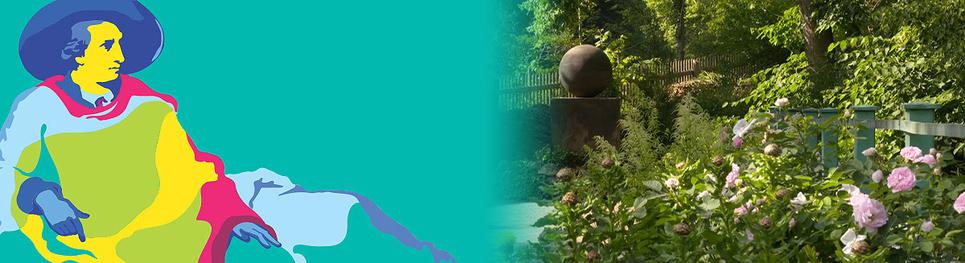 Links: Goethe sitzliegend und schaut nach rechts. Moderne Interpretation eines Gemäldes. Rechts sieht man den Ausschnitt eines Garten, den wohl Goethe gestaltet hat.