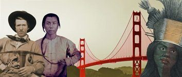 Von links nach rechts: ein Neuamerikaner, ein chinesisch aussehender Mann, ein Bildausschnitt mit der Golden Gate Brücke, ein Indianisch aussehende Frau mit Haarschmuck.