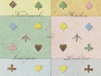 sechs farbfelder mit gleichen muster in gleichen farben - auswirkung der hintergrundfarbe auf die vorderfarbe
