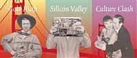 Golden Bridge im Hintergrund, li: Gold Rush: Goldgräber, mitte: Silicon Valley: Alec Soth mit PC-Hardware; re: Culture Clash: Liebespaar
