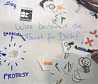 Auf einem großen Bogen mit Marker beschriftetem Papier liegen verschiedene Bildschnipsel mit Zeichen zum Thema eines anderen SignDatings. Eine Hand greift zu einem schwarzen Marker.