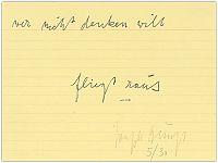 """gelber Karteizettel liniert: """"wer nicht denken will ... fliegt raus [gestempelt ganz klein: sich selbst] Unterschrift Joseph Beuys 5/30"""