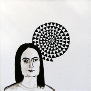 Spirale aus dunklen Dreiecken auf weißer Leinwand, mit Porträit der Künstlerin in gleicher Farbe