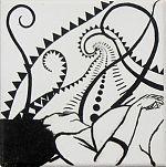 Ein Mensch liegt und schaut vom Betrachter weg. Der Mensch schaut in eine leichte Spirale, welche durch Dreiecke, Kreise und Linien gebildet wurde. Die Spirale wird begleitet mit frei schwingenden Linien aus Dreiecken oder gefüllten Linien.