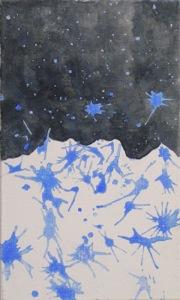 Die untere Bildhälfte ist weiß mit blauen zerfaserten Flecken, welche zum schwarz hin zerklüftet angrenzt. Das schwarz in der oberen Bildhälfte ist mit blauen Sternen übersät.