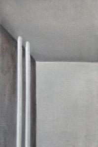 Eine Ecke mit 3 Flächen: unten links hell, oben mittelgrau, links dunkelgrau. links sind auch zwei weiße runde Stäbe, welche leicht in die obere Fläche hineingehen..