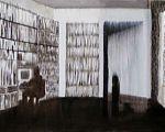 Ansicht ins Innere, Tisch mit Tischlampe, ein Stapel A4-Blätter, Buntstifte im Glas und Bücher