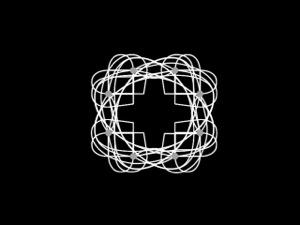 weiße in sich verschlungene Linien auf schwarzem Hintergrund