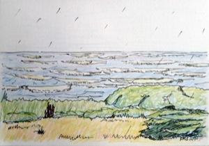 stürmisch-regnerische See, Zeichnung mit Tusche und Farbstift