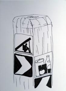 Vier quadratische Schilder an einem Pfosten, zwei Pfeile, Pictogramm für ein Supermarkt und Pictogramm für die Übernachtungsmöglichkeit für Wanderer: hockender Mensch unterm Dach